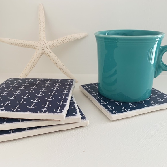 Navy and White Anchor Ceramic Tile Coasters
